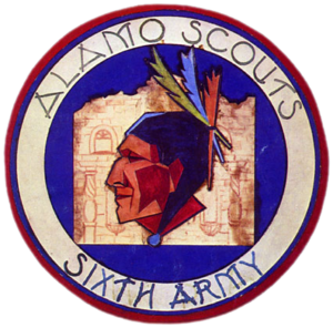 Original art work for the shoulder patch of the Alamo Scouts produced by CPL Harry Golden in 1944 at the ASTC, Hollandia, D. N. G.