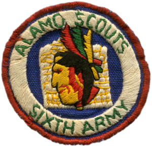 A Filipino-made version of the Alamo Scouts patch constructed on Luzon in mid-1945. These patches were purchased locally when the original order of 440 patches was exhausted. Courtesy of Clay Giles, (nephew of Tom Rounsaville)